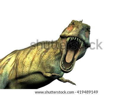 3d illustration of a Tyrannosaurus rex isolated on white background - stock photo