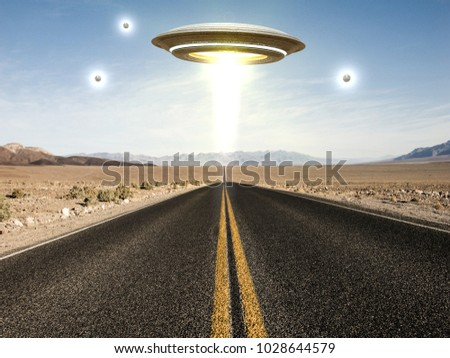 3d illustration of a ufo flying over an empty desert road