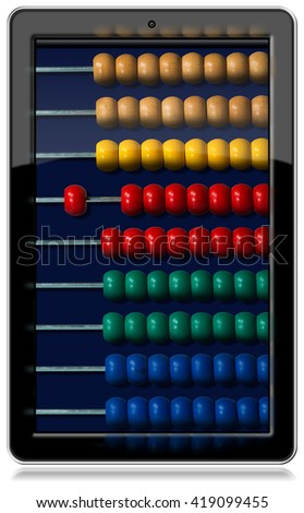 3D illustration of a vertical black tablet computer with a wooden and colorful abacus on the screen. Isolated on white background - stock photo