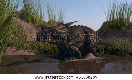 3d illustration of a walking einiosaurus - stock photo