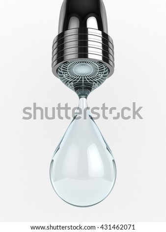 3D Illustration of a Water Tap with Drop of Water, clear