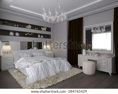 3D illustration of a white bedroom in classical style - stock photo