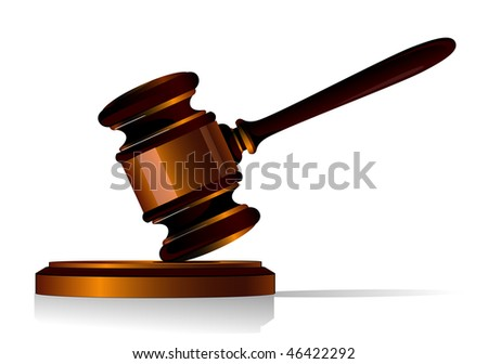 3d illustration of a wooden gavel used by a judge when delivering judgement in court or an auctioneer resting at an angle in the air on a wooden base. Vector version is also available - stock photo
