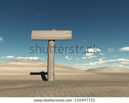 3D illustration of a wooden sign in the desert