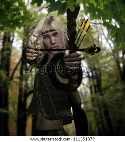 3d illustration of a woodland male elf archer aiming an arrow ready to be released.  Set in a forest background. - stock photo