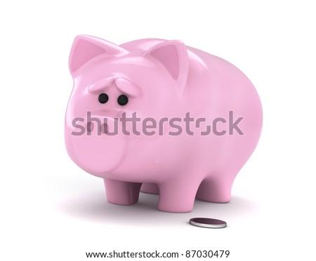 3D Illustration of a Worried Piggy Bank - stock photo