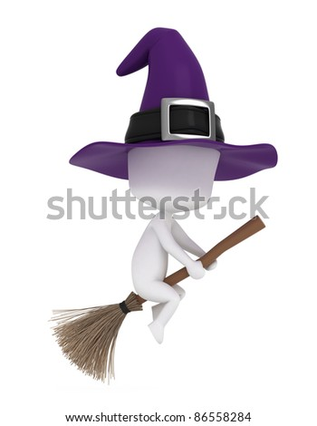 3D Illustration of a Young Witch Riding a Broomstick - stock photo