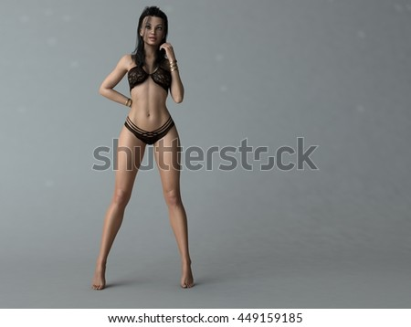 3d illustration of a young woman posing in black lingerie - stock photo