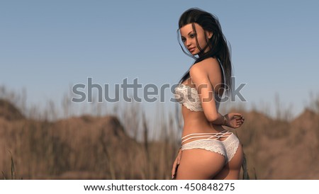 3d illustration of a young woman posing outdoor - stock photo