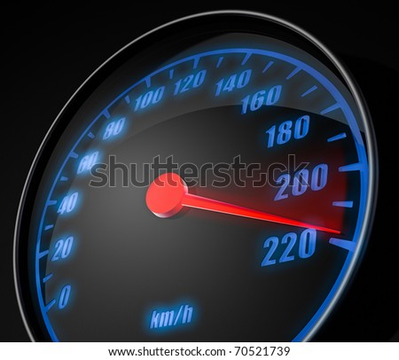 3d illustration of abstract car speedometer - stock photo