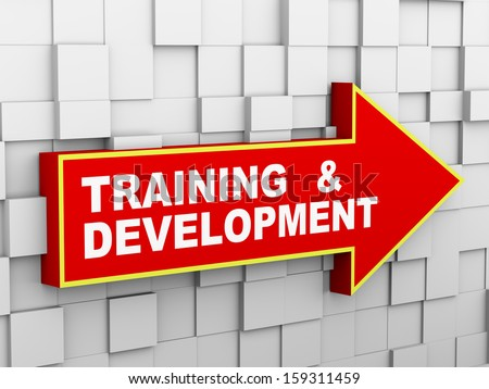 3d illustration of abstract cube wall arrow design concept of training and development - stock photo