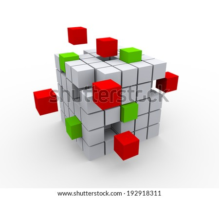 3d illustration of abstract cubes structure on white background