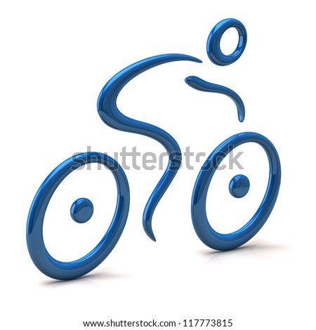 3d illustration of abstract cyclist - stock photo
