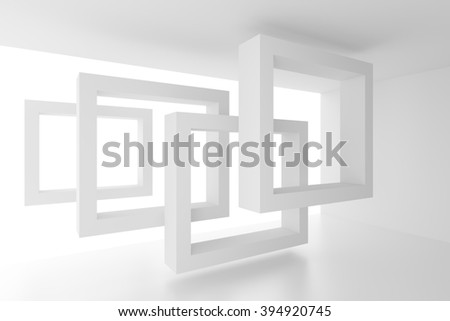 3d Illustration of Abstract Interior Background. White Geometric Design - stock photo