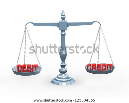 3d illustration of accounting term debit and credit on balance scale - stock photo