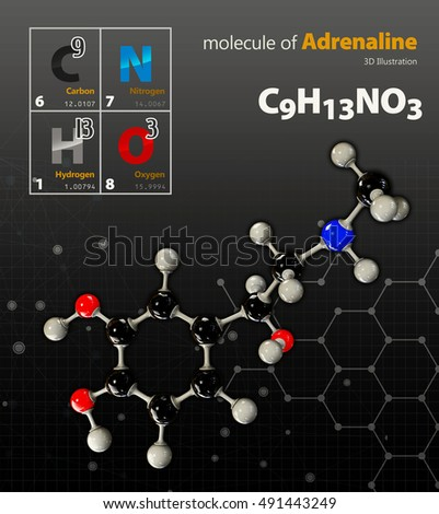 3d Illustration of Adrenaline Molecule isolated black background