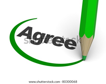 3d illustration of agree sign with pencil - stock photo
