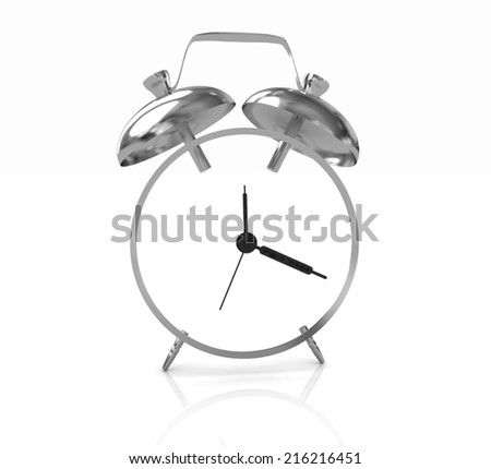 3D illustration of alarm clock icon on a white background - stock photo