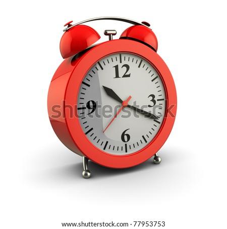 3d illustration of alarm clock over white background - stock photo