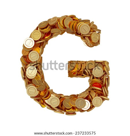 3d illustration of alphabet letter G with golden coins isolated on white background - stock photo