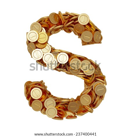 3d illustration of alphabet letter S with golden coins isolated on white background - stock photo