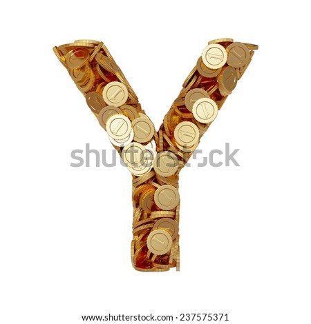 3d illustration of alphabet letter Y with golden coins isolated on white background - stock photo