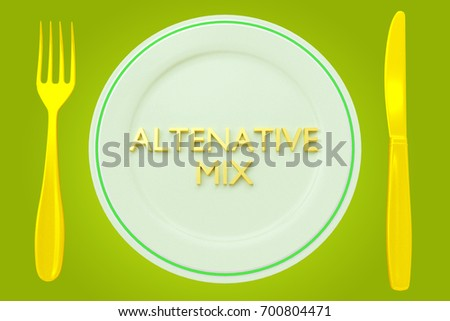 "3D illustration of ""ALTERNATIVE MIX"" title on a pale green plate, along with golden knife and fork, on a green background."