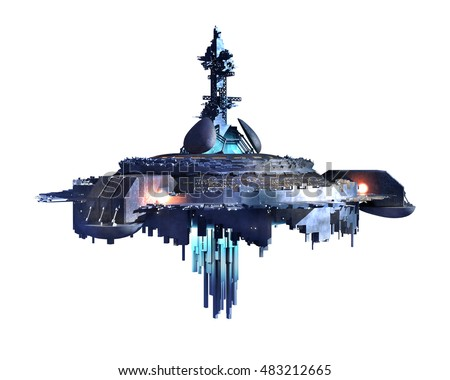 3D illustration of an alien ufo for science fiction backgrounds of interstellar deep space travel