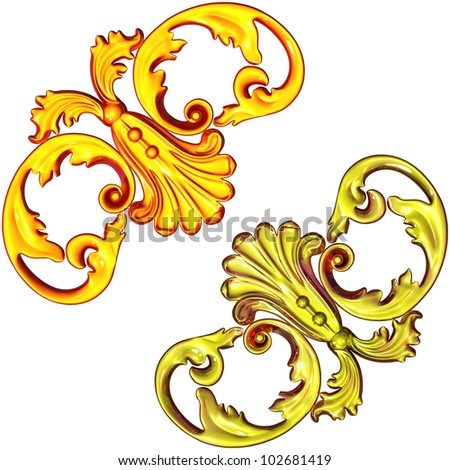 3d illustration of an ancient gold ornament on a white background - stock photo