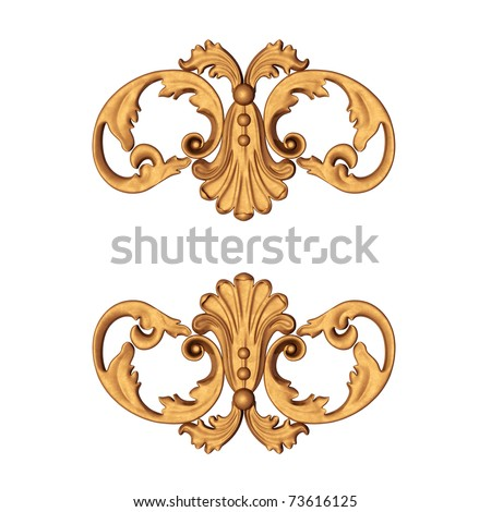 3d illustration of an ancient gold ornament on a white background