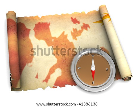 3d illustration of an ancient map and compass - stock photo