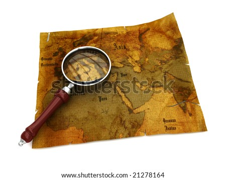 3d illustration of an ancient map with magnify glass - stock photo