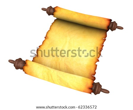 3d illustration of an ancient paper scroll, isolated over white - stock photo