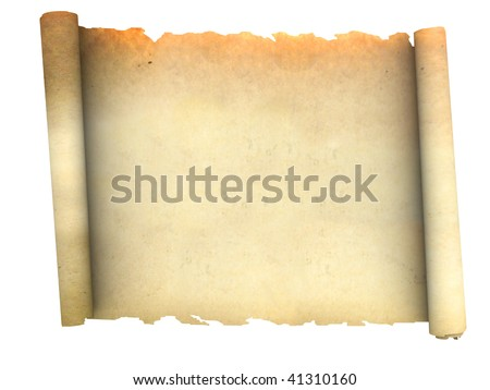 3d illustration of an ancient paper scroll isolated over white background