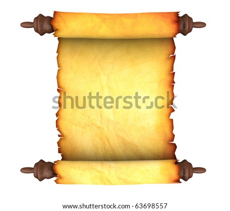 3d illustration of an ancient paper scroll isolated over white background - stock photo