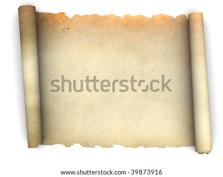 3d illustration of an ancient paper scroll over white background