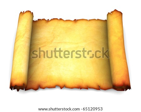 3d illustration of an ancient paper scroll over white background - stock photo