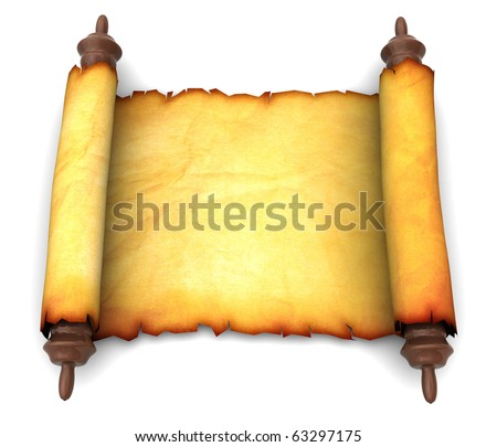 3d illustration of an ancient scroll over white background - stock photo