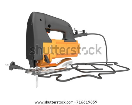 3d illustration of an electric orange fretsaw on a white background.