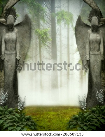 3D illustration of an Elven Gateway.  Two stone angels standing in front of an archway,  flowers at their feet and a misty forest  background.  Perfect for your renders or photo-manipulations.
