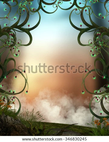 3D illustration of an enchanted scene.  Swirly tree limbs with glowing tips with a misty rainbow background and fog rising from the bottom.  Perfect for your renders and photo manipulations.