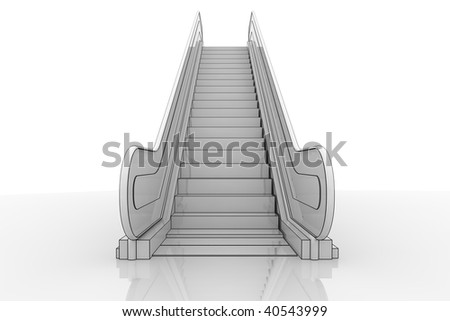 3d Illustration of an escalator staircase on a reflective surface - stock photo