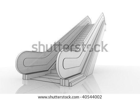 3d Illustration of an escalator staircase on a reflective surface