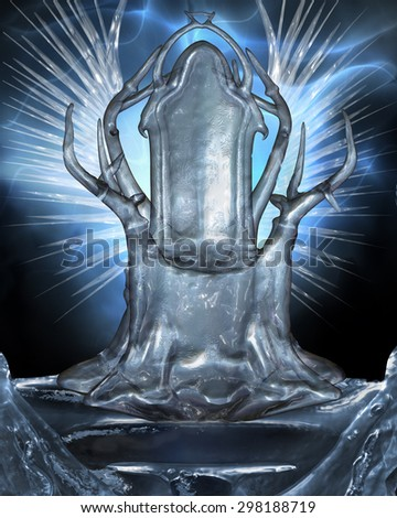 3D illustration of an Icy Throne with frozen wings in the background.  Perfect background for your characters or phtomanips. - stock photo