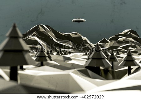 3d illustration of an identified flying object low poly over a desolate landscape - stock photo