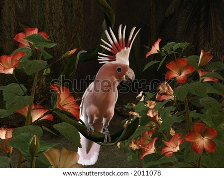 3d-illustration of an Inca Cockatoo - sitting on a liane - stock photo