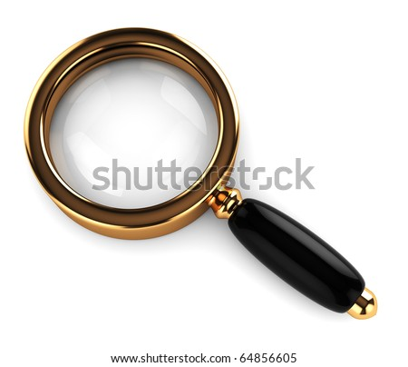 3d illustration of an magnify glass over white background - stock photo