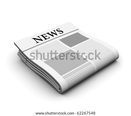 3d illustration of an newspaper over white background
