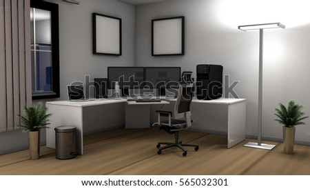 3D Illustration Of An Office Setup