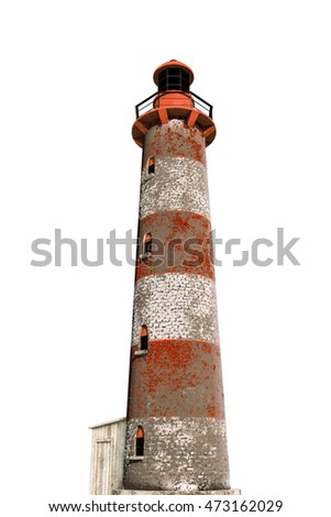 3d illustration of an old lighthouse isolated on white background